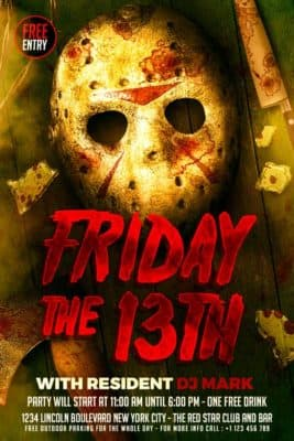 Friday the 13th Free Flyer Template