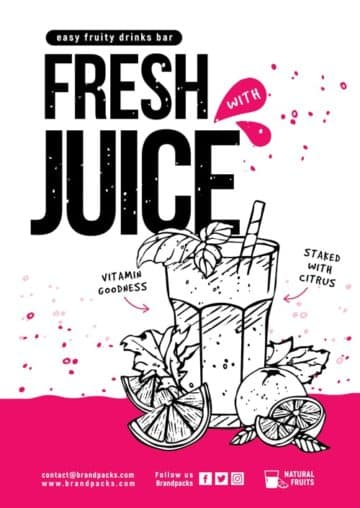Juice Bar Flyer and Poster Template for Bars and Organic Food Trucks