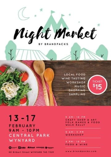 Night Market Free Poster Template for Community Market Events