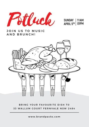 Potluck Free Restaurant Flyer and Poster Template