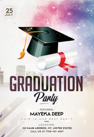 Graduation Party Free PSD Flyer Template