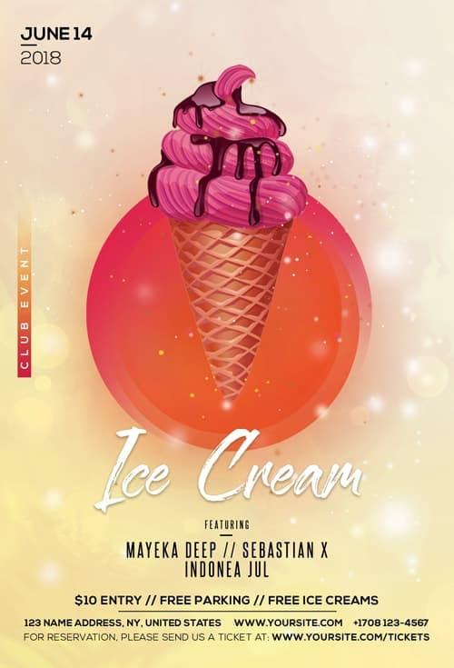Ice Cream Free Flyer Template for Summer Party Events