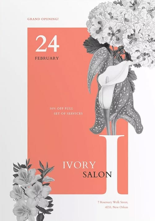 Ivory Beauty Salon Flyer and Poster Template
