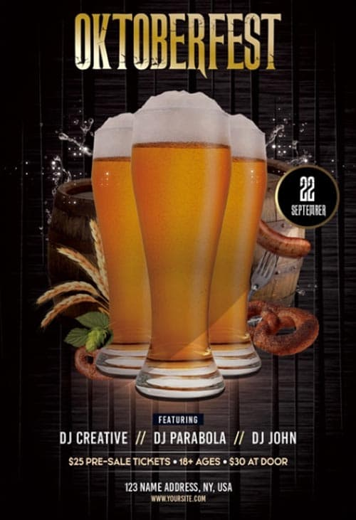 Oktoberfest Beer Party Free Flyer Template