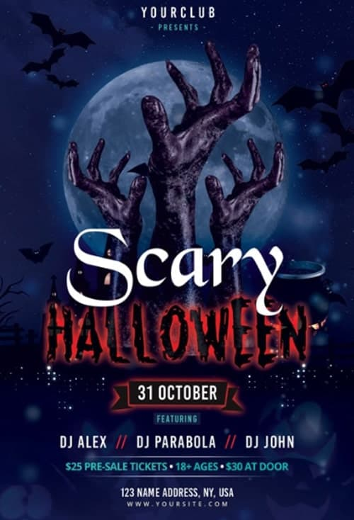 Scary Halloween Party Free Flyer Template