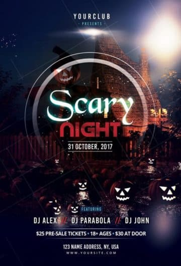 Scary Night Free Halloween Party Flyer Template for Halloween Parties