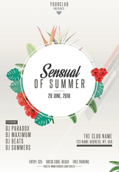 Sensual Summer Free Party Flyer Template for Summer Party Events