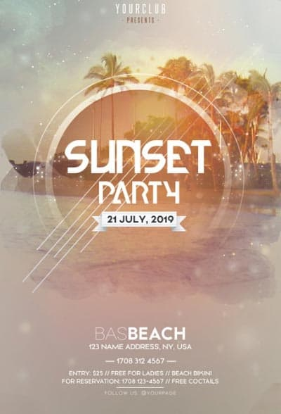 Sunset DJ Party Free Flyer Template