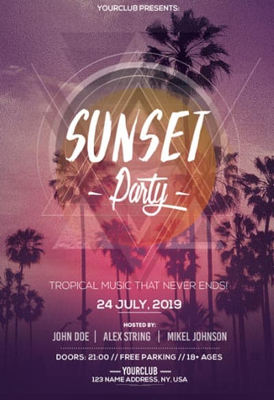 Sunset Party Free Flyer Template