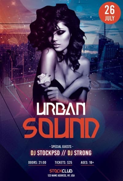 Urban Electro Sound Party Free Flyer Template for Party and Club Events
