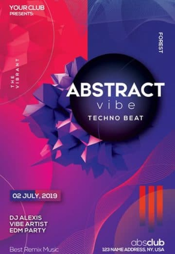Free Abstract Futuristic Party Flyer Template
