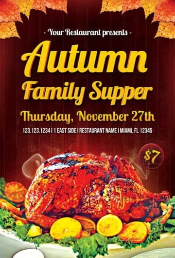 Autumn Family Supper Free Flyer Template