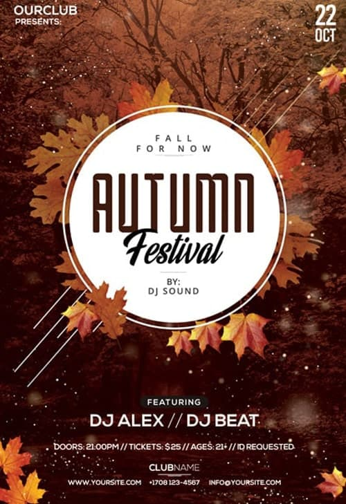 Autumn Festival Free Party Flyer Template