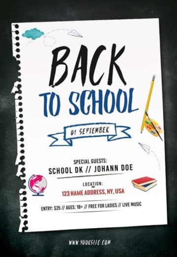 Back to School Free Party Flyer Template