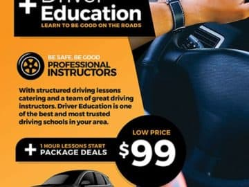 Driving School Free Flyer and Poster Template