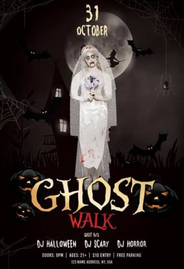 Ghost Walk Halloween Party Free Flyer Template