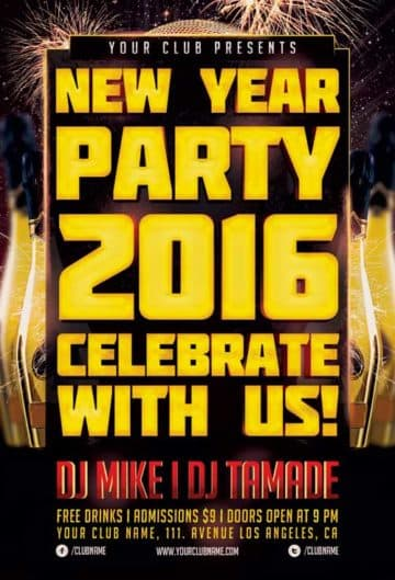 New Year Party Event Free Flyer Template