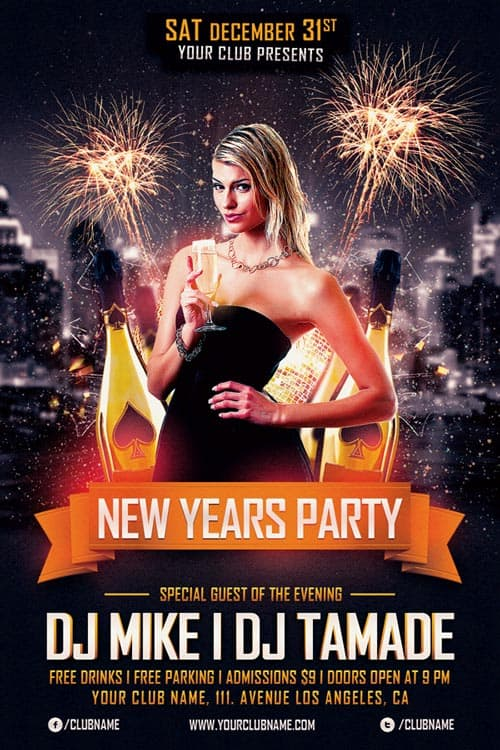 New Years Party Free Flyer Template