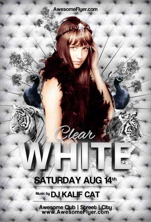 White Tiger Club Party Free Flyer Template