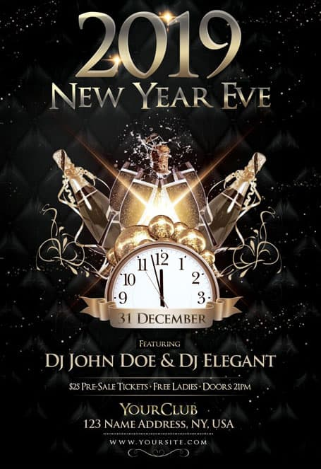 new year eve 2019 free psd flyer template