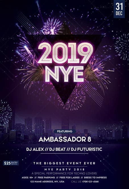 New Year Eve 2019 Free Flyer Template