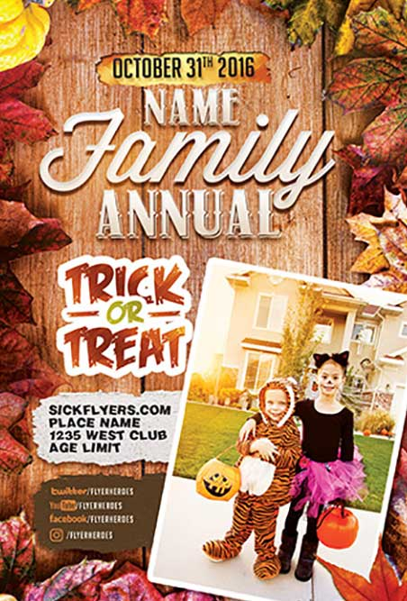 Annual Family Trick or Treat Free Flyer Template