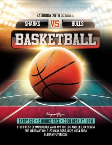Basketball Game Free Sport PSD Flyer Template