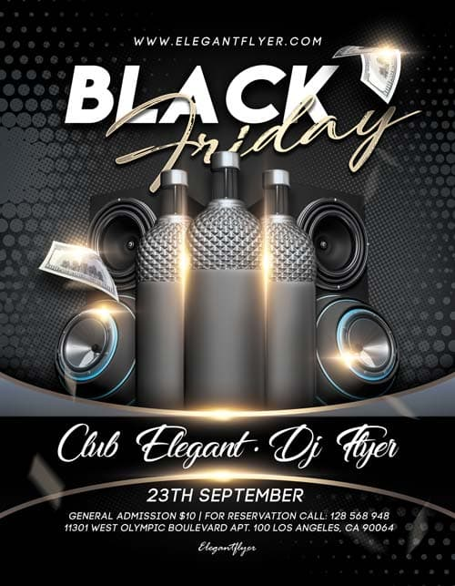 black friday free psd flyer template for elegant and classy club events