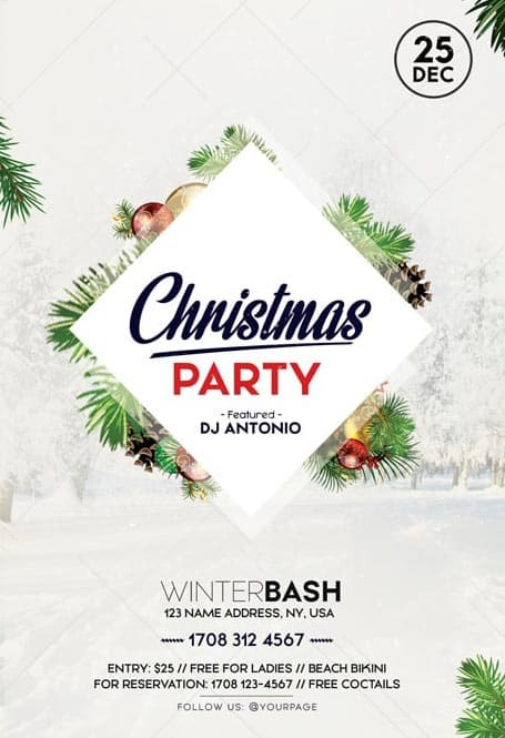 Christmas Celebration Party Free Flyer Template