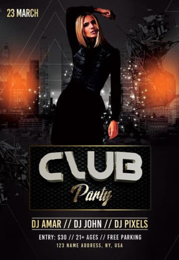 Elegant Club Party Free Flyer Template