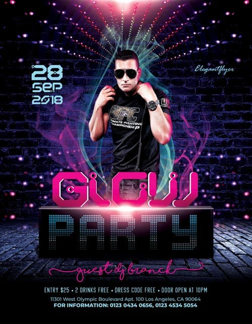 Glow Party Free PSD Flyer Template