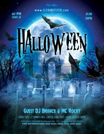 Halloween Night Party Free PSD Flyer Template for Halloween Events