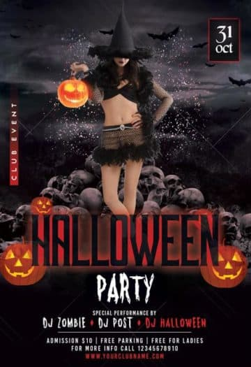 Halloween Party Club Event Free Flyer Template