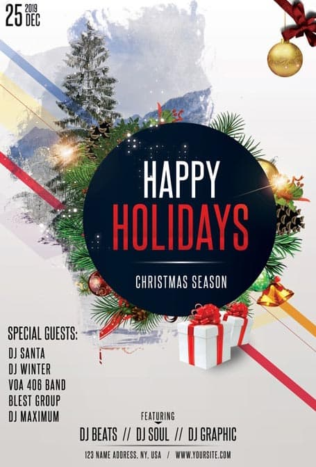 Happy Christmas Holidays Free Flyer Template