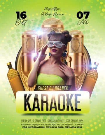 Karaoke Party Free PSD Flyer Template