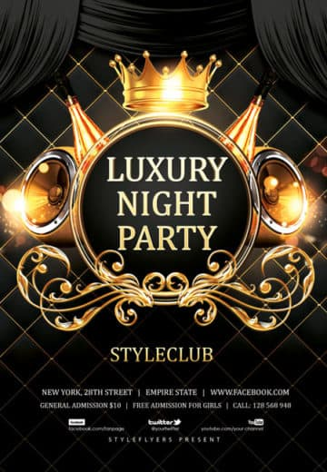 luxury night party free flyer template - Free Psd Flyer Templates