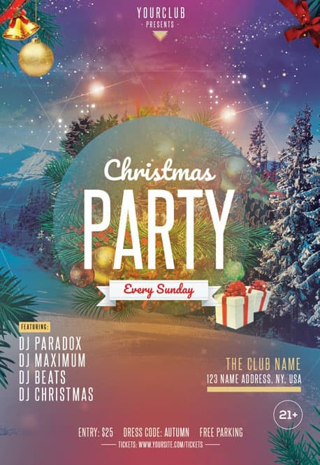 Merry Christmas Free Club Flyer Template