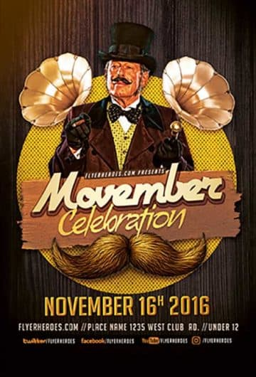 Movember Celebration Free Flyer Template