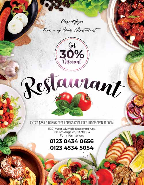 Restaurant Free Food Flyer Template