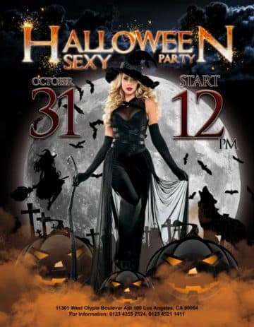 Sexy Halloween Party Free PSD Flyer Template