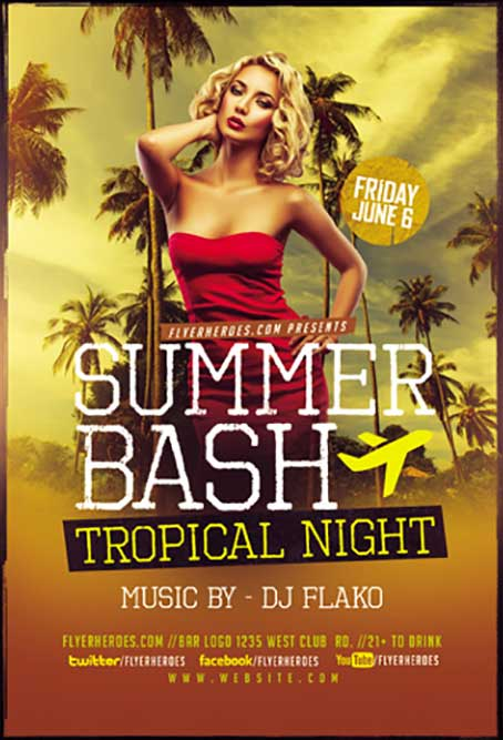 Summer Bash Free Flyer Template
