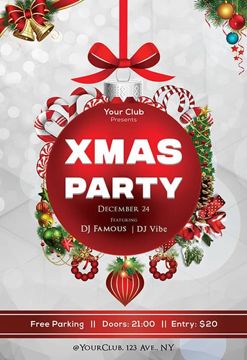 2018 Christmas Party Free PSD Flyer Template for Christmas