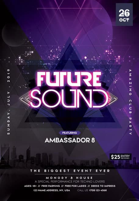 Futuristic Sound Free PSD Flyer Template for Club and Party