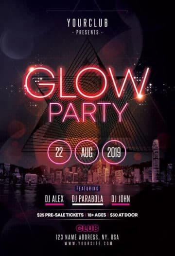 Free Glow Party PSD Flyer Template