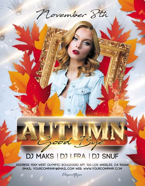 Golden Autumn Party Free PSD Flyer Template