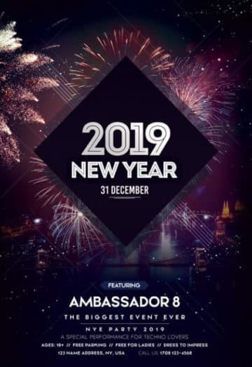 Happy New Year 2019 Free Flyer Template