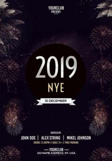 Happy New Year 2019 Free NYE Flyer Template