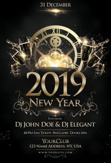 Happy New Year 2019 Free Party Flyer Template