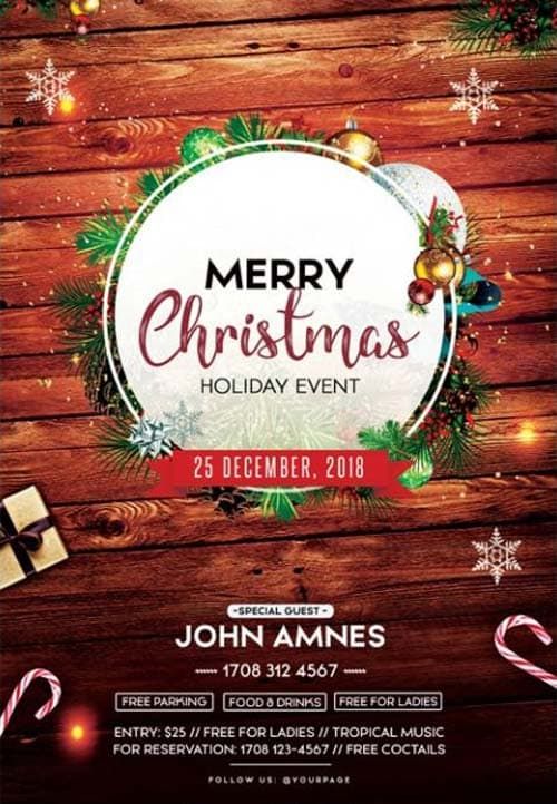 Merry Christmas Images Free.Merry Christmas 2018 Free Psd Flyer Template For Christmas