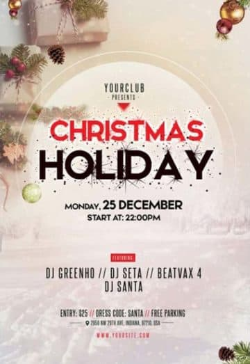 Merry Christmas 2018 Free Party PSD Flyer Template
